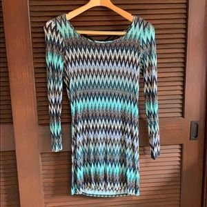 NWT Zuaree Missoni Style Blue Printed Mini Dress